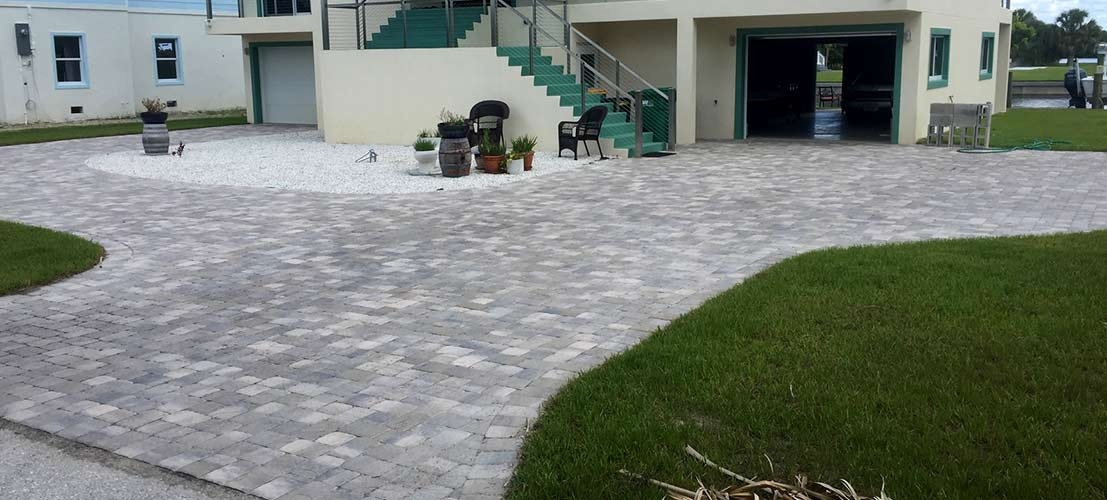 paver driveway and landscaping