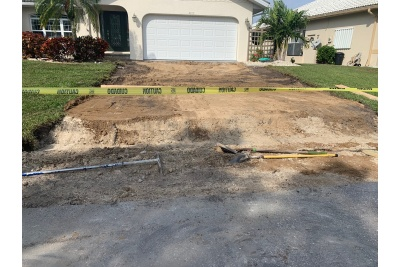 Concrete driveway removed