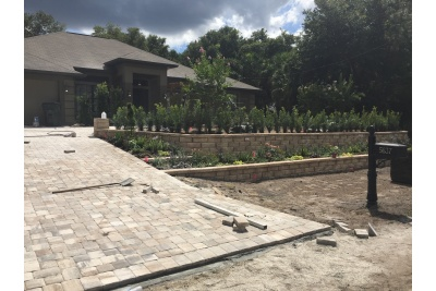 New retaining wall, landscaping and driveway