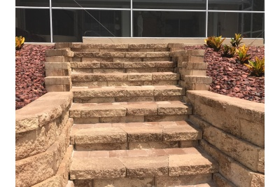 Pavers, stone steps and retaining wall