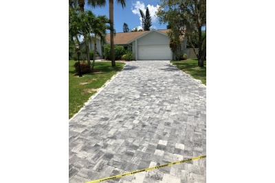 New paver driveway installed