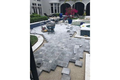 Pool deck paver installation