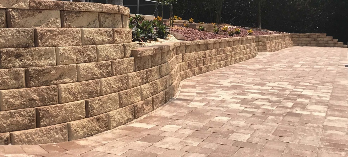 Retaining wall and pavers