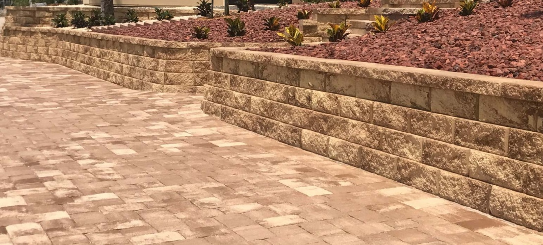Pavers and retaining wall