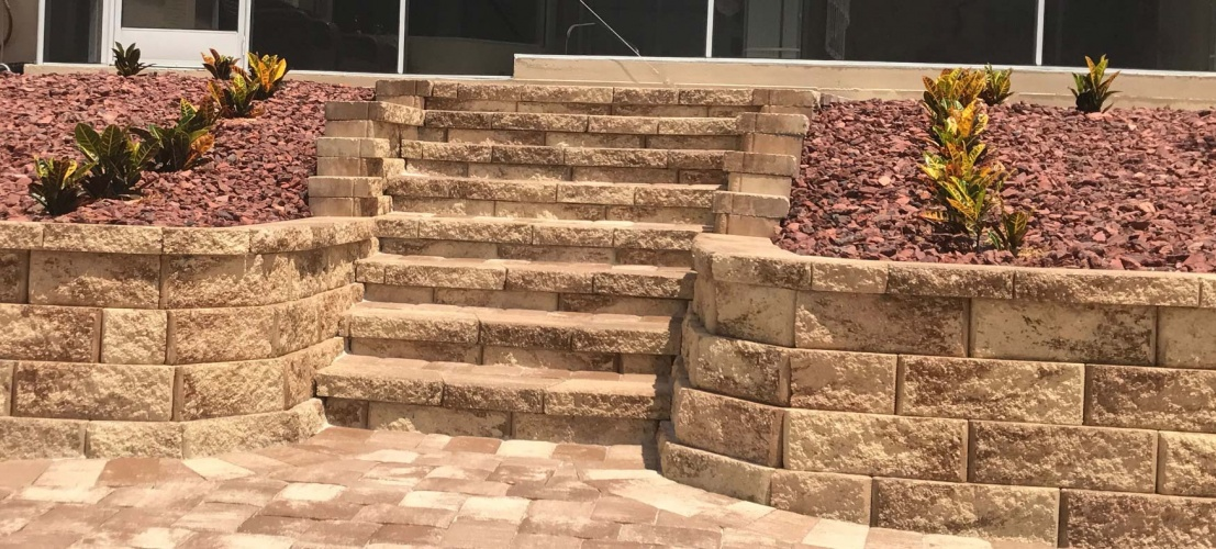 Stone steps, landscaping and pavers