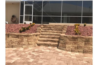 Pavers, stone steps, wall and landscaping