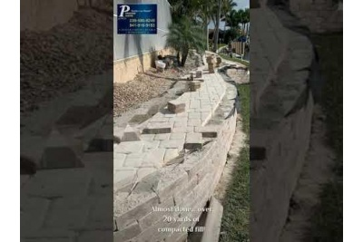 Pool pavers and retaining wall