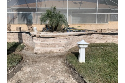 Retaining wall, pavers and landscaping