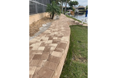 Pavers, landscaping and retaining wall