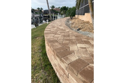 Pavers, retaining wall and landscaping